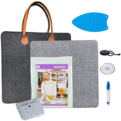 MasonBrille Wool Pressing Mat for Sewing Supplies 17 x 14 | 7 Piece Set with Easy Press Mat Ironing Board - Teflon Sheet for Heat Press - Sewing Products Quilting Supplies and Sewing Accessories