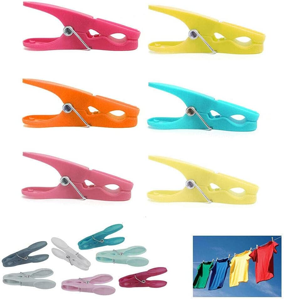 Selling rankings 96 Pcs Plastic Regular store Clothespins Laundry Ass Large Clothes Spring Pins