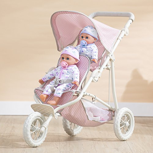 Olivia's Little World - Polka Dots Princess Baby Doll Twin Jogging Stroller, Foldable Double Stroller with Storage Basket and Safety Lock, Pink/Gray