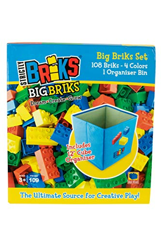 Strictly Briks - Lot de Big Briks avec boîte de Rangement Pliable - Compatible avec Toutes Les Grandes Marques de Grosses Briques - 4 Couleurs - 108 pièces