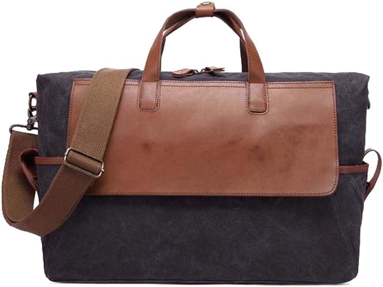 Herrenhandtasche, Vintage l Wachs Leinwand Oxford Tuch wasserdichte Reisetasche Groe Kapazitt Dokument Computertasche Geeignet für Outdoor (Farbe   schwarz)
