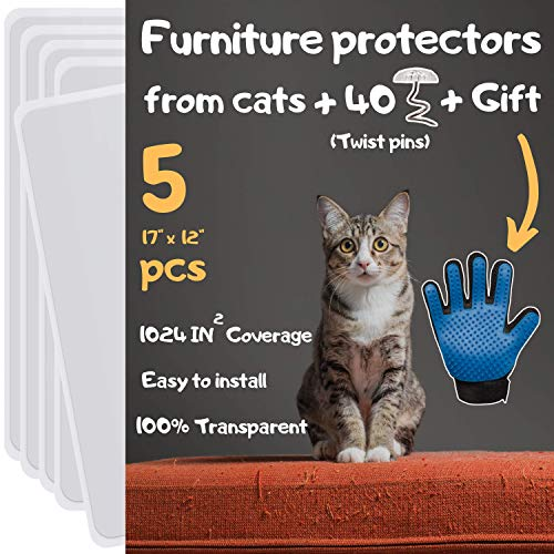 Cat Furniture Protector - Cat Couch Protector, Furniture Protection from Cat Scratching, Couch Protector from Cats, Cat Scratch Deterrent Includes Grooming Glove (5 Pcs - 17' x 12')