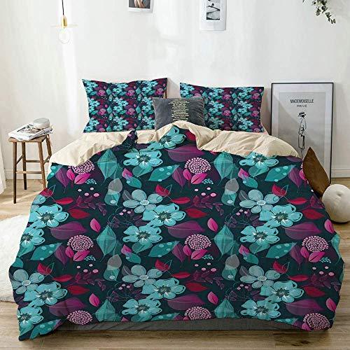 Juego de funda nórdica beige, flores de color azul pálido y hojas de colores Patrón de arte de jardín de fantasía romántica, juego de cama decorativo de 3 piezas con 2 fundas de almohada, fácil cuidad