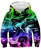 Rave on Friday Colorful Smoke Hoodie Kinder Lustiges 3D Drucker Pullover Galaxy Sweatshirt Neuheit Bunt Langarm Pullover für 145 Jungen Mädchen L