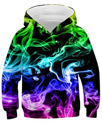 Rave on Friday Bunter Rauch Kapuzenpullover Galaxy Hoodie 135 3D Bedrucktes Sweatshirt Neuheit Lustig Pullover mit Tasche für Kinder M