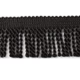 HEARTWISH Curtain Fringes Bullion Fringe Trim 2.5Inch Wide 5 Yards Long,Fabric Trims and Embellishments Curtain Weights Fringes for Sewing DIY Decoration Black Gold White (Black)