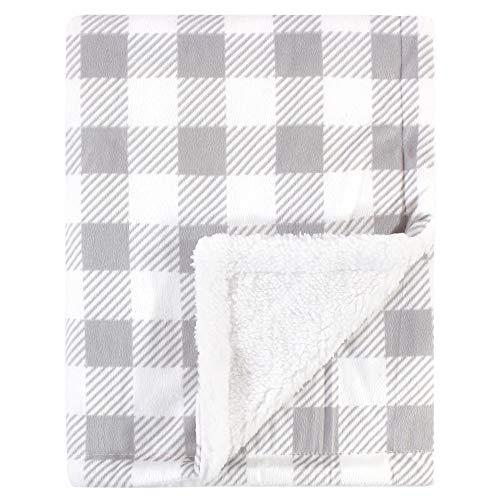 Hudson Baby Unisex Baby Plush Blanket with Sherpa Back, Gray Plaid, One Size