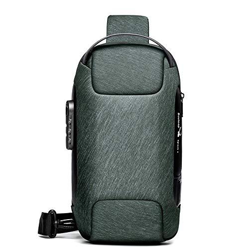 Bolsa tiracolo masculina impermeável USB Oxford, bolsa tiracolo antirroubo, mochila multifuncional, Verde militar, One_Size, Clássico