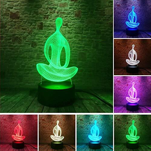 Yoga Meditation of Living Xmas New Year 3D LED Night Light USB Table Lamp Kids Birthday Gift Bedside Home Decoration
