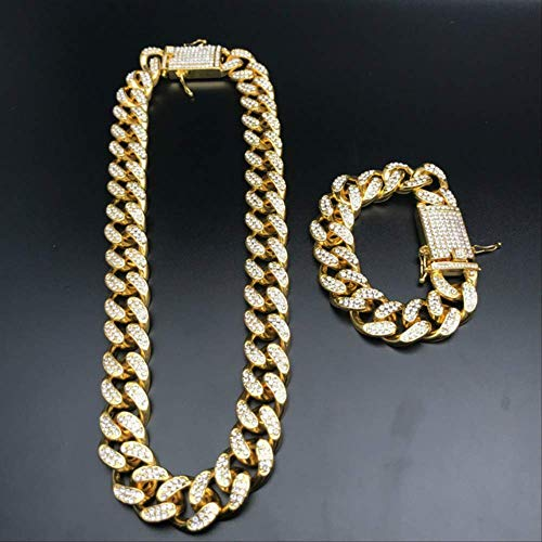 JSZ Mens Bracelets Cuban Link Chain Crystal Miami Ice Out Cuban Chain Gold Silver Color Men Watch& Necklace& Amp Bracelet Hip Hop For Men 8inch and 18inch Rhodium Plated