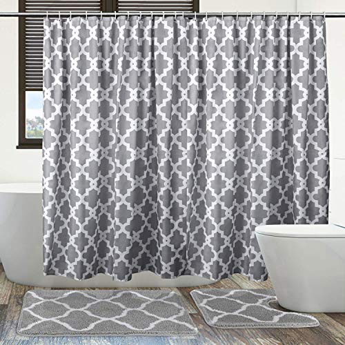 Jersow 3Pcs Shower Curtain Set with Non-Slip Rugs and Bath Mat, 71 x 71 Shower Curtains with 12 Hooks, Waterproof Shower Curtains Polyester Fabric Machine Washable-Gray & White Flower