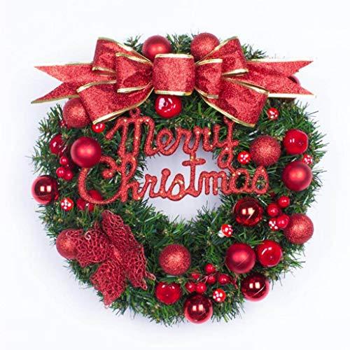 guirnalda NLIAN- Corona de Navidad, Corona Artificial 40cm Puerta Pared Ventanas con Nudo de Lazo Rojo/Alfabeto Inglés/Bayas Rojas/Champiñones Pequeños/Decoraciones Esféricas