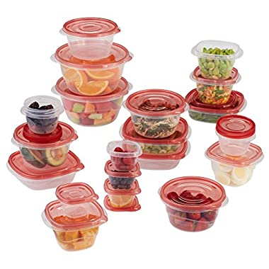 Rubbermaid 1949248  TakeAlongs Assorted Food Storage Containers, 40-Piece Set, Racer Red