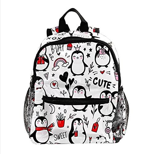 Toddler Backpack Cute Penguin Cute Backpack Preschool Storage Bag Baby Personalized Rucksack for Nursery 10x4x12in