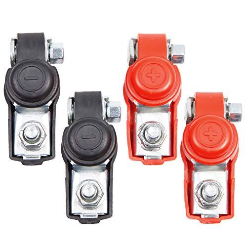 Anladia 4 STK. Autobatterie Terminal Clamp Battery Clamp Clips Stecker Connector Einstellbar 6-12V Polklemmen Klemmen einstellbar Auto positiv + negativ Rot und Schwarz Ersatz Zubehoer