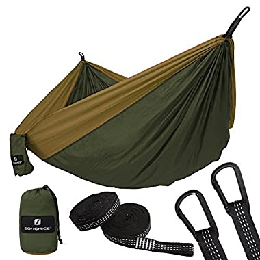 SONGMICS Ultra-Lightweight & Portable Hammock Hold up to 660LB Single & Double Parachute Nylon Camping Hammock Swing Bed 118'' x 78'' for Outdoor Backpacking, Hiking, Yard, Traveling UGDC20AC