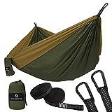 SONGMICS Hamaca Ultra Ligera Camping GDC20AC, 300 x 200 cm, Nylon Transpirable, 1-2 Personas, Mosquetones Premium y Correas de Nylon Incluidas