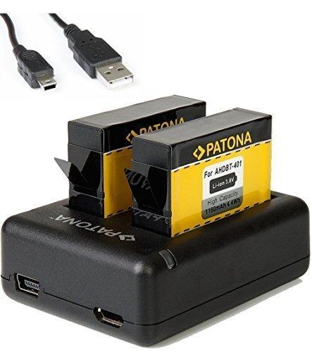 Dual Ladegerät für GoPro Hero4 Hero 4 Akku AHDBT-401 mit 2X Patona Akku 1160mAh und USB-Kabel für alle Editionen