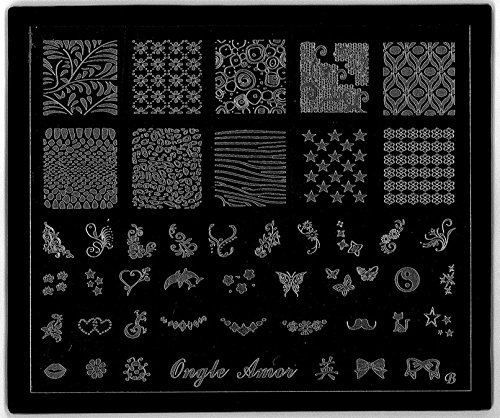 Plaque nail art stamping,pour vernis stamping et tampon stamping TAILLE 12/10 CM PLAQUE B CLASSIQUE