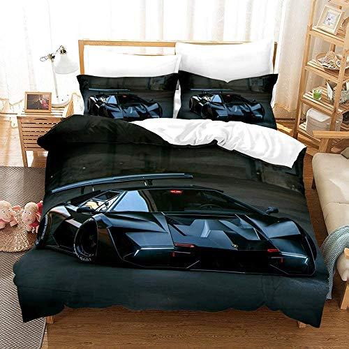 CCBZLY - Set di biancheria da letto per auto sportiva Ferrari, in microfibra di lusso, copripiumino e federa con cerniera invisibile (M2,200 x 200 cm + 2 x 50 x 75 cm)