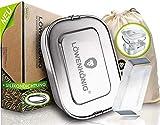 LÖWENKÖNIG® Premium Edelstahl Brotdose Auslaufsicher 1400ml + Trennwand & Beutel - Die Innovative&verbesserte Lunchbox ist kinderleicht zu Reinigen - Ideal für Kinder & Erwachsene