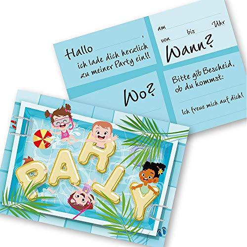 K! 12 Einladungskarten Kindergeburtstag für Jungs und Mädchen ,Die Kinder Geburtstagseinladung für Pool-Party und Feiern im Schwimmbad, Hallen- oder Freibad, (12 Einladungskarten ohne Kuvert)