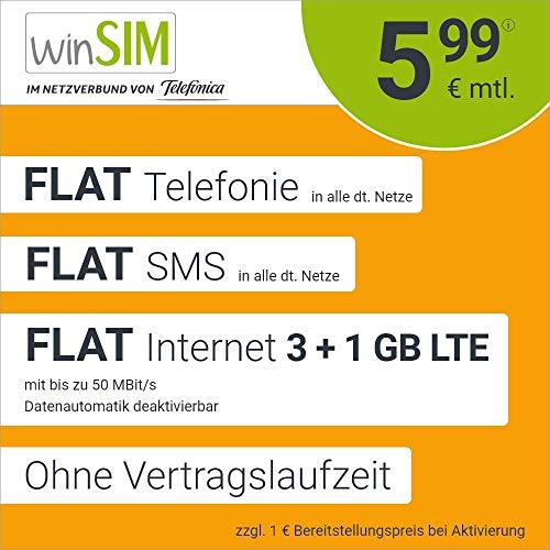 Handyvertrag winSIM LTE All 3 GB + 1 GB - ohne Vertragslaufzeit (FLAT Internet 4 GB LTE mit max. 50 MBit/s mit deaktivierbarer Datenautomatik, FLAT Telefonie, FLAT SMS und EU-Ausland, 5,99 Euro/Monat)