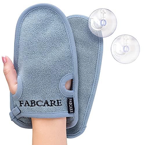 Guante exfoliante FABCARE - PROBADO DERMATOLÓGICAMENTE - 2 piezas - Limpia los poros en profundidad para cuerpo & cara - Esponja de ducha para Peeling & Body Scrub - Guante de masaje