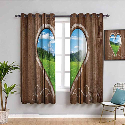 Outhouse Blackout Window Curtains Heart Window View from Wooden Rustic Farm Barn Shed with Chalk Art Image Reduce Light W72 x L72 Inch Brown Blue and Green