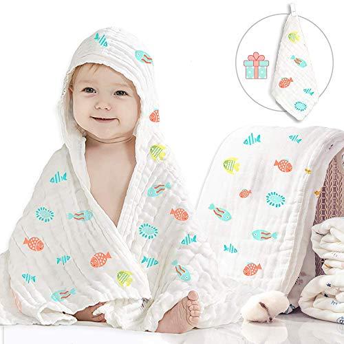 Caiery Copertine in Mussola/Mussole Neonato 110CMx110CM /Asciugamani Bimbo/Baby Bath Towel, 100% Mussola Cotone, Bagnetto Infante Neonato Bambino, Copertine per Carrozzina e Culla(fish)
