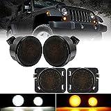 LED Front Turn Signal Lights & Fender Side Marker Lights Assembly for 2007 - 2018 Jeep Wrangler JK JKU, NEWEST White Running Light and Amber Sequential Dynamic Flash Turn Signal, Smoke Lens