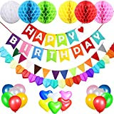 Birthday Decorations Party Supplies for Boys and Girls, Happy Birthday Banner Flags, 6 Colorful Tissue Paper Pompom Balls, 18 Balloons, Heart Garland & Bunting for Kids and Adults