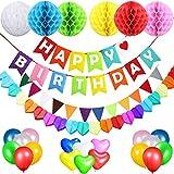 Geburtstagsdeko Mädchen Jungen, Acelife Geburtstag Party Dekoration, Happy Birthday Banner + 6 Wabenbälle + 18 runde Luftballons + 12 dreieckige Wimpel + Girlande, Bunt Partydeko für Kinder