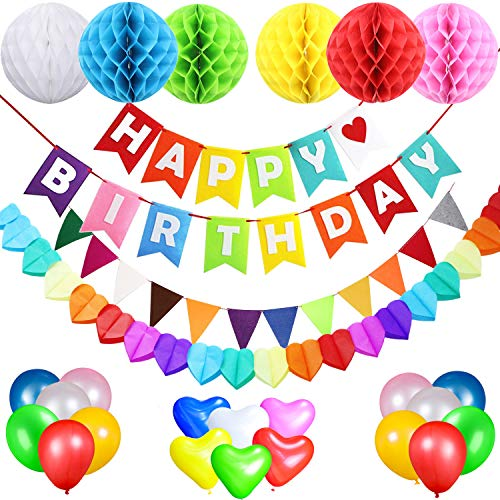 Birthday Decorations Party Supplies for Boys and Girls, AceLife Happy Birthday Banner Flags, 6 Colorful Tissue Paper Pompom Balls, 18 Balloons, Heart Garland & Bunting for Kids and Adults