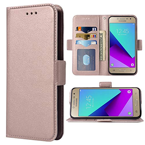 Compatible with Samsung Galaxy Grand Prime J2 Prime Folio Flip Wallet Case,PU Leather Credit Card Holder Slots Heavy Duty Full Body Protection Kickstand Protective Phone Cover for G530 Rose Gold