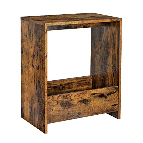 VASAGLE End Table, Narrow Side Table with Storage Compartment, Space-Saving Nightstand, for Small Spaces, Living Room, Bedroom, Study, Rustic Brown ULET182B01