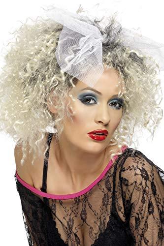 Smiffys Damen 80er Jahre Lockige Perücke mit Schleife, 80er Wild Child Perücke, Blond, One Size, 42031