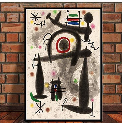 NOT Joan Miro Berühmte Moderne Abstrakte Retro-Gemälde Kunstplakat Und Drucke Wandkunst Leinwand Wandbilder Für Wohnzimmer 50 × 70 cm Ohne Rahmen