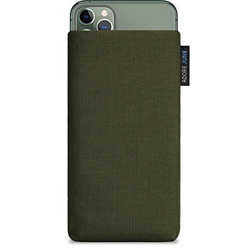 Adore June Classic Oliv-Grün Tasche kompatibel mit Apple iPhone 11 Pro Max Handytasche aus beständigem Cordura Stoff mit Bildschirm Reinigungs-Effekt, Made in Europe