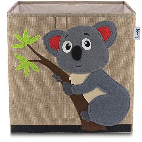 Lifeney Kinder Aufbewahrungsbox I praktische Aufbewahrungsbox für jedes Kinderzimmer I Kinder Spielkiste I Niedliche Spielzeugbox I Korb zur Aufbewahrung von Kinder Spielsachen (Koala dunkel)