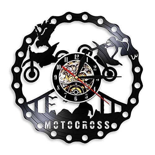 Enofvd Motocross Racer Decorar Reloj de Pared Dirt Bike Trucos Montar Disco de Vinilo Reloj de Pared Motocicleta Racing Rider Regalo darle 12 Pulgadas