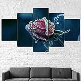 5 piezas cuadro sobre lienzo imagen,cuadro decorativo grande,Cuadro sobre Impresión Lienzo 5 Piezas Escarcha de flor rosa congelada cuadro decorativo abstracto salon dormitorio Listo para Colgar Marco
