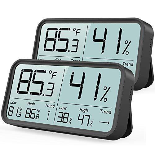 Digitale 2 Stück Thermo-Hygrometer Innen, Thermometer Hygrometer Temperatur und Luftfeuchtigkeitsmesser für Raumklimakontrolle Raumluftüberwachtung Klima Monitor Schwarz