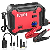BUTURE Portable Car Jump Starter with Air Compressor, 2500A 23800mAh Battery Booster Pack (All Gas/8.0L Diesel) with 150 PSI Digital Tire Inflator, QC3.0 Power Pack with 120W DC Out, Emergency Light