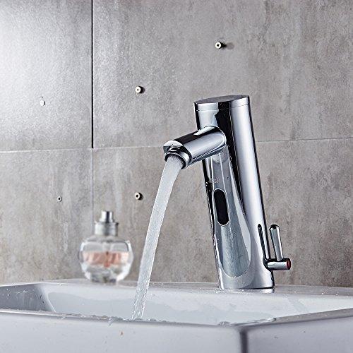 Decdeal Grifo mezclador con sensor para lavabo, agua fría y caliente (conmutación)