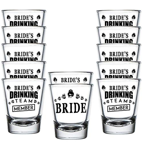 Shop4Ever Bride and Bride's Drinking Team Member Glass Shot Glasses Wedding Bachelorette Party Shot Glasses (12 Pack)