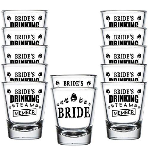 Shop4Ever Bride and Bride's Drinking Team Member Shot Glasses ~ Wedding Bridal Bachelorette Party Favors ~ (12 Pack)