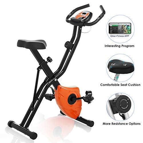 FUNMILY Exercise Bike, Folding Magnetic Upright Exercise Bike with Big Heart LCD Rate Monitor & Comfortable Seat Cushion for Home Cardio Workout Bikes Exercise magnetic quiet upright