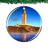 Weekino España Hercules Tower La Coruna Navidad Ornamento Ciudad Viajar Recuerdo Colección Doble Cara Porcelana 2.85 Pulgadas Decoración de árbol Colgante