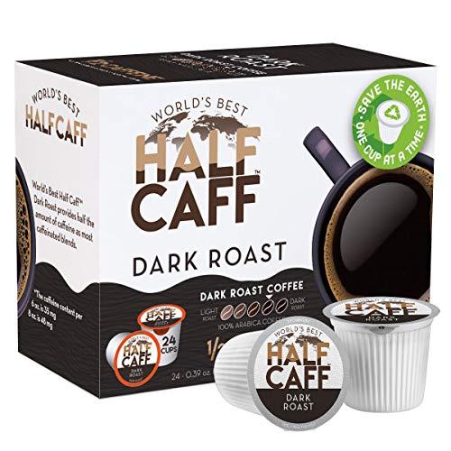 World's Best Half Caff Dark Roast Coffee 24ct. Recyclable Single Serve Dark Roast Coffee Pods - 100% Arabica Coffee California Roasted, Keurig Dark Roast K Cups Compatible Including 2.0